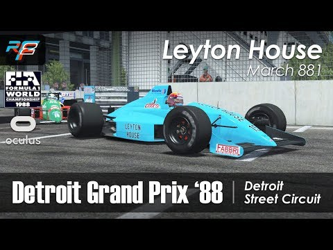 rFactor 2 VR - F1 1988 - Leyton House March 881 @ Detroit (vs AI)
