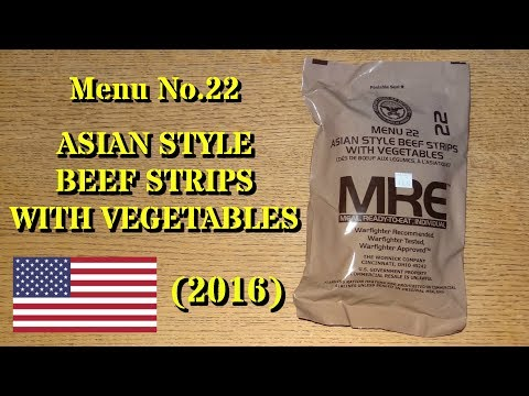 Download Youtube: MRE Review: Menu No.22 Asian Style Beef Strips with Vegetables (2016)