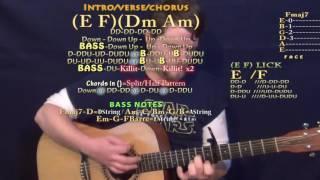 T-Shirt (Migos) Guitar Lesson Chord Chart - Capo 6th - E F Dm Am