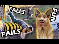 FUNNY FALLS and FAILS! The Kid Parkour Gladiators FUNnel V Fam May 2015 Compilation w  Dog Boy