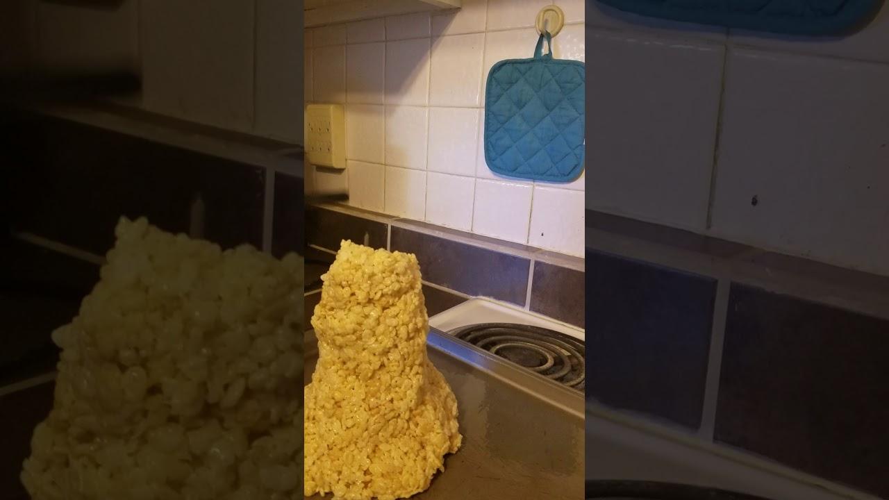 Science experiment #528. Rice Crispy volcano! - YouTube