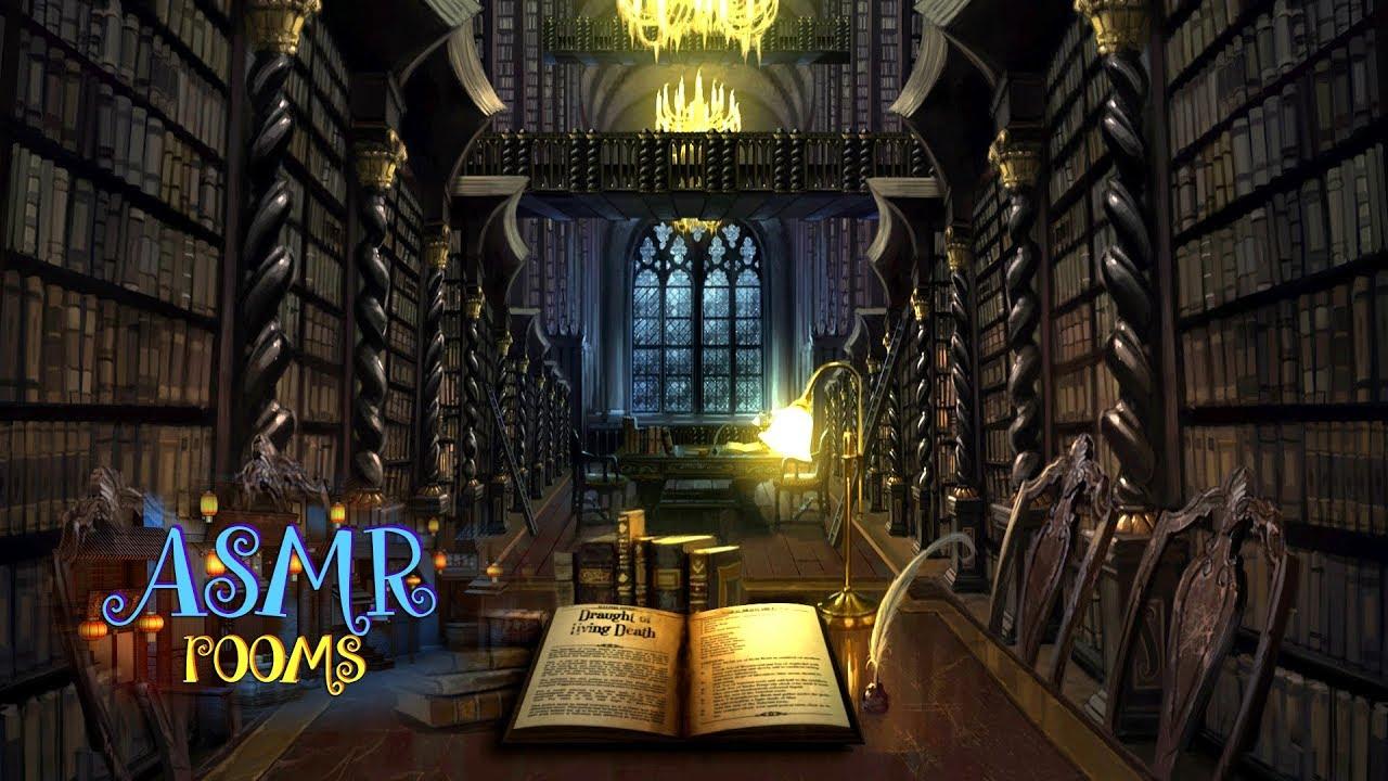 Harry Potter inspired ASMR - Hogwarts Library REMAKE  - Animated ambient soundscape cinemagraph
