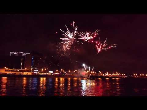 Great fireworks at Neva river.