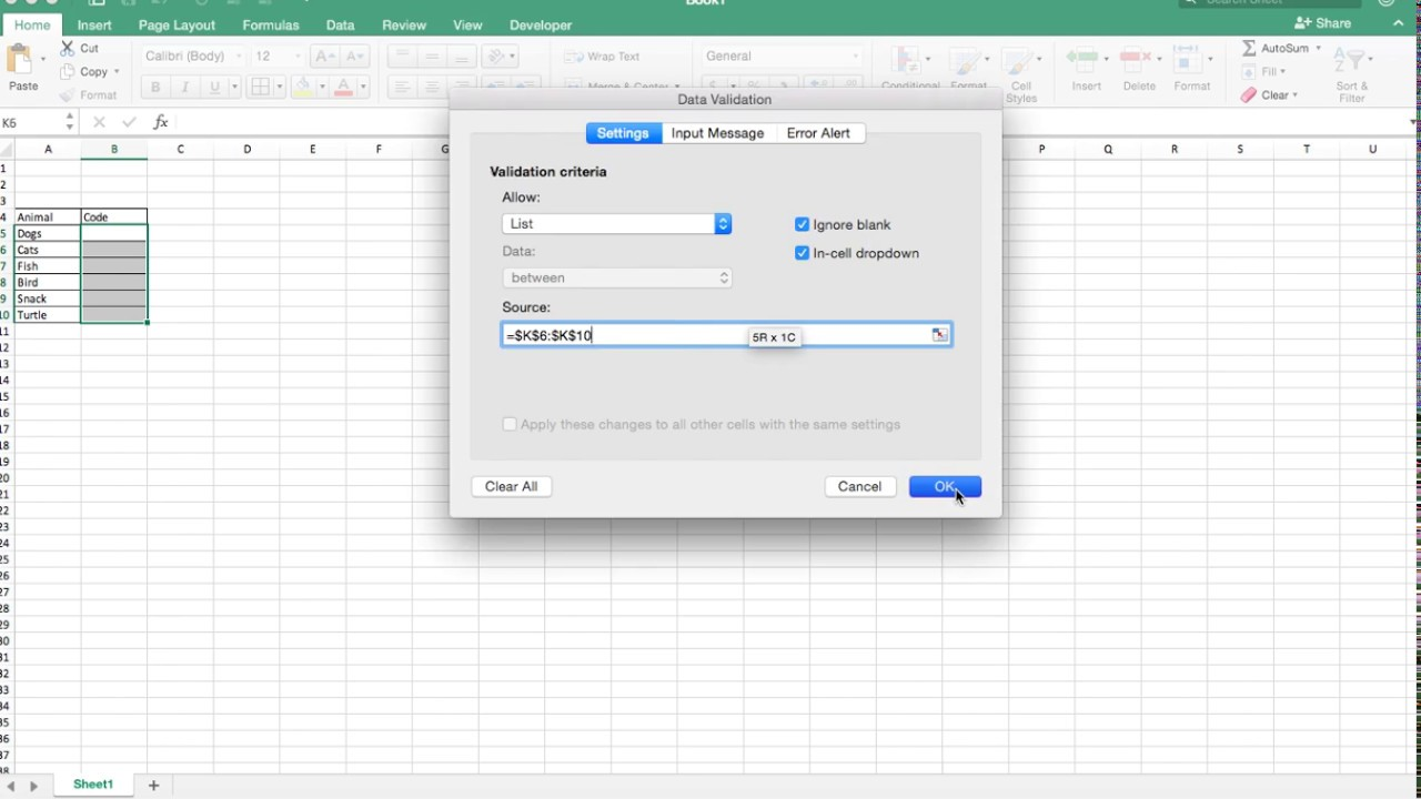 How to create a dropdown list in excel for mac