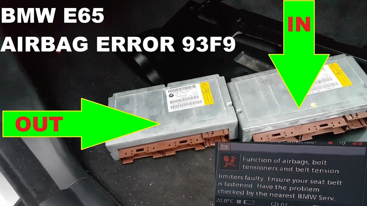 BMW E65 7 Series Airbag light on  Error 93F9   Module replacement and  programming
