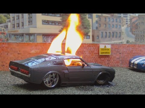 Toy Mustang Burnout Ends In Flames