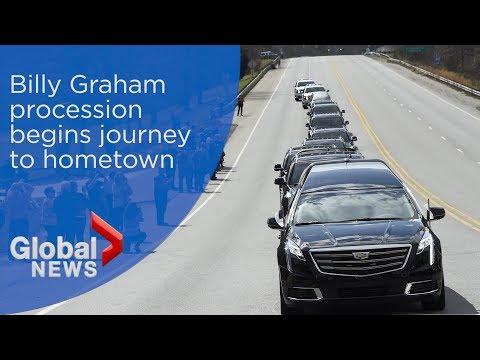 Billy Graham's body begins 209-km journey to North Carolina hometown