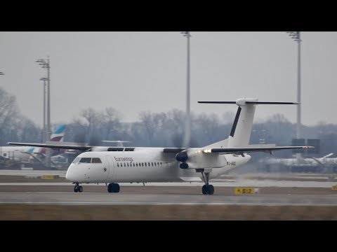 Eurowings LGW Bombardier DHC-8-402 Q400 D-ABQC arrival at Munich Airport