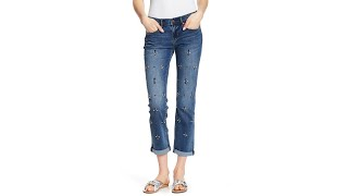Tribeca Embellished Cuffed Straight Leg Jeans