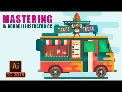 Illustrator Tutorial : Design A Food Truck illustration in Adobe illustrator CC thumbnail