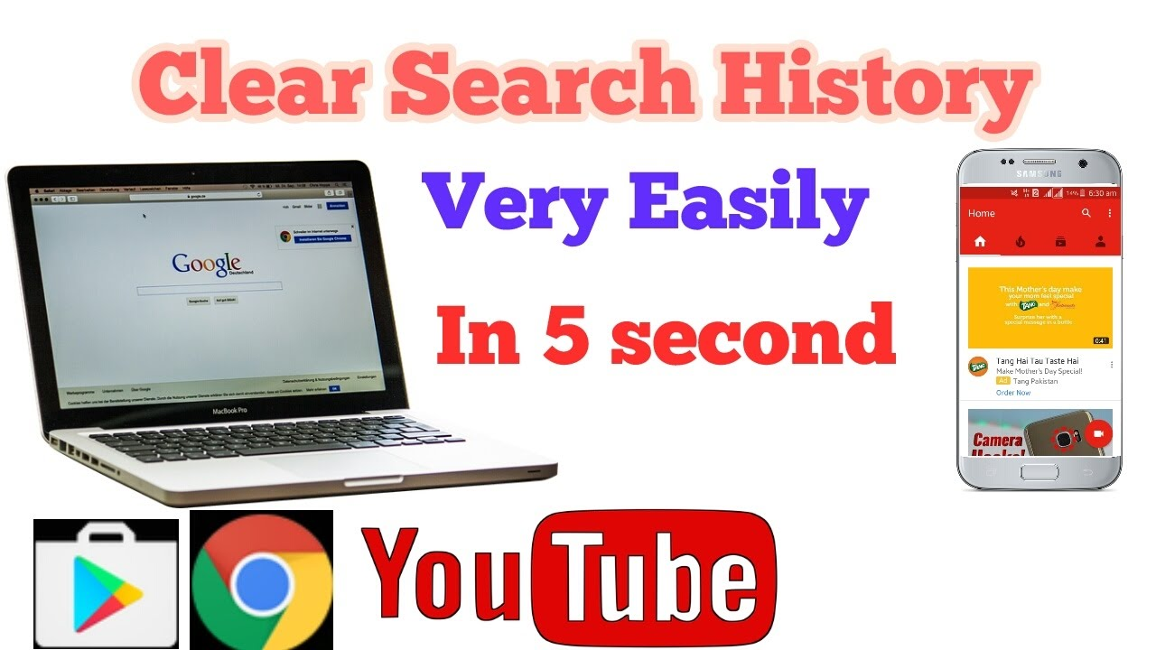 How To Clear Search History On Youtube,google,chrom And Play Storeclear  Browsing History
