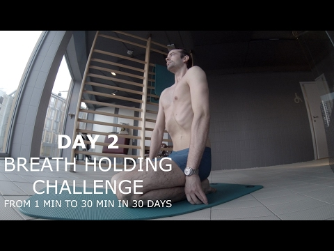 30 DAY BREATH HOLD CHALLENGE DAY 2 - Static apnea from 1 min to 4 min in 30 days