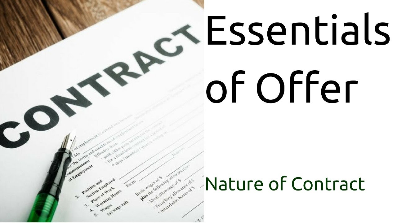 Essentials Of Offer In A Contract Act Nature Of Contract Offer Ca Cpt Cs Cma Foundation