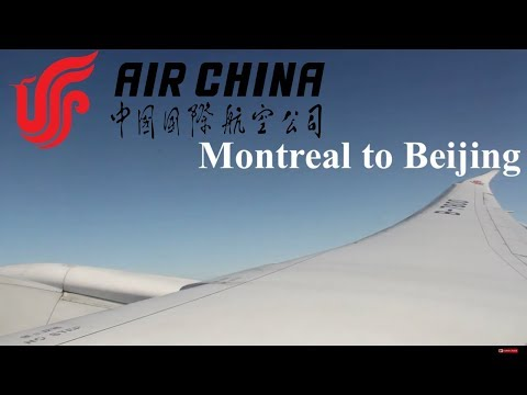 Air China B787-9 economy class takeoff from Montreal. YUL-PEK