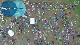 Drone footage shows thousands of refugees at Greece's border with Macedonia
