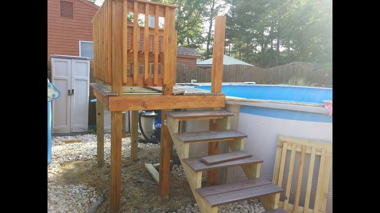 Diy Pool Deck For An Above Ground Pool Youtube