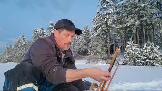 Ice fishing for salmon
