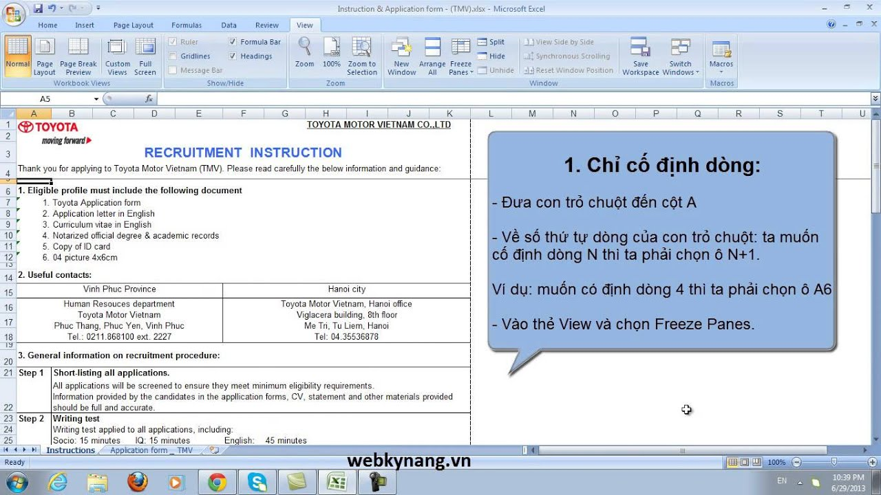 co dinh dong cot tren excel 2007 [webkynang.vn]