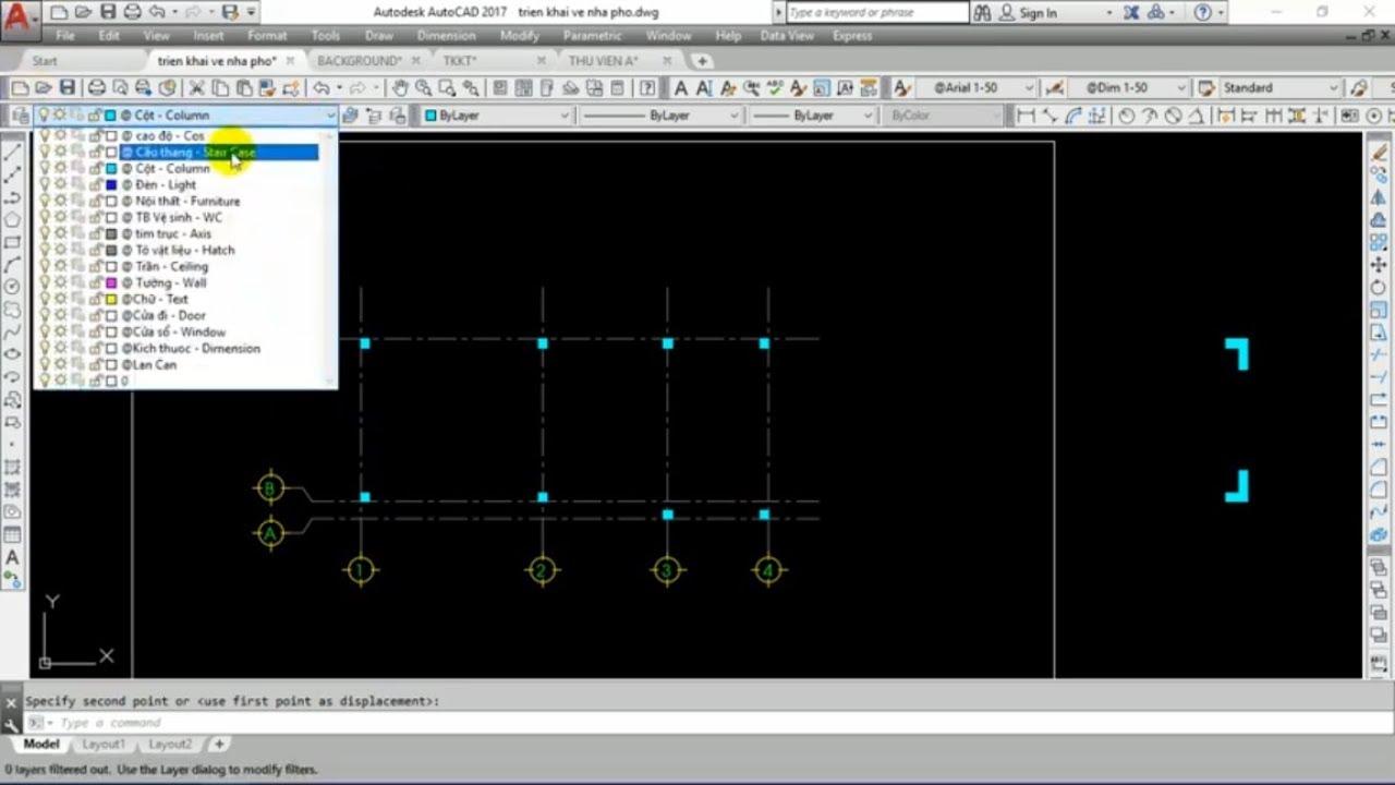 Triển khai bản vẽ kiến trúc nhà phố  – Video 2: Vẽ lưới trục và cột
