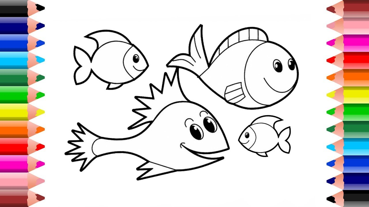 How To Draw Fish For Kids Drawing And Coloring Easy Draw Fish
