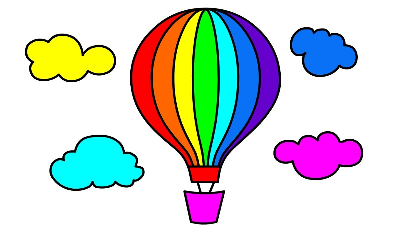 How to draw hot air balloon in clouds coloring pages for kids drawing and coloring for children