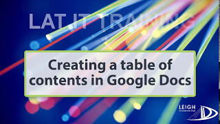 Creating a table of contents in Google Docs