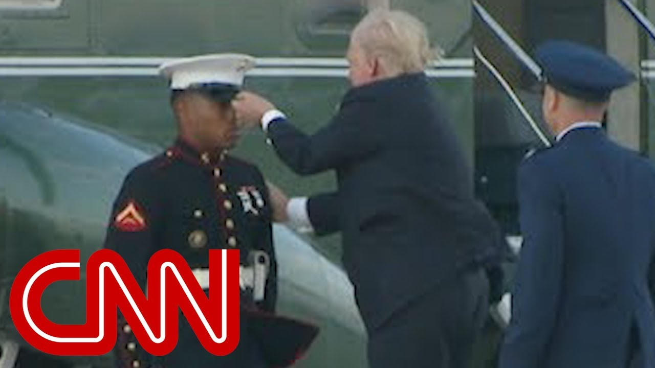 Trump stops to retrieve Marine's hat - BUT only he can do it like this!!