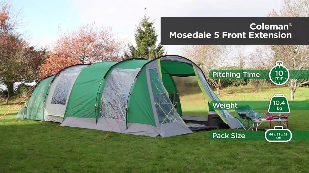 Coleman® Front Extension for Mosedale 5 Family Tent & Coleman® Front Extension for Mosedale 5 Family Tent - YouTube