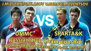 MIZUTANI, VLASOV - LIVENTSOV, BUROV Russian Club Championships Table Tennis
