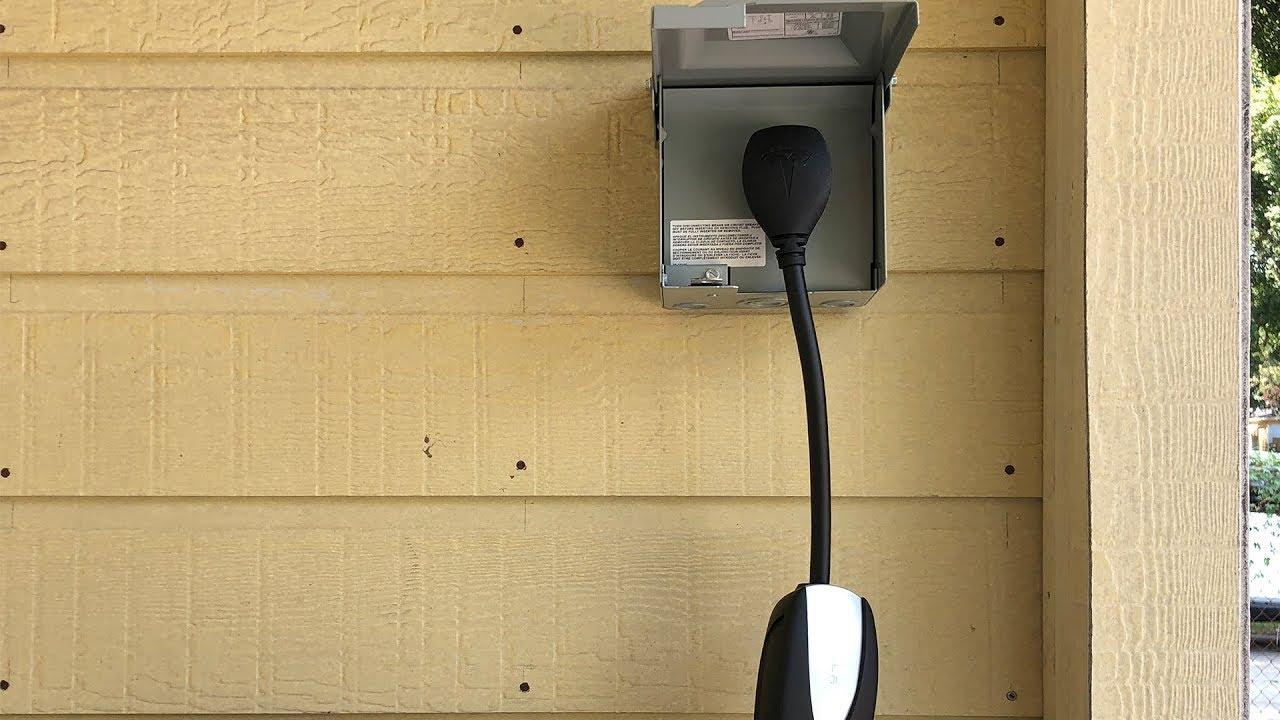 installing an outdoor nema 14 50 outlet for charging tesla [ 1280 x 720 Pixel ]