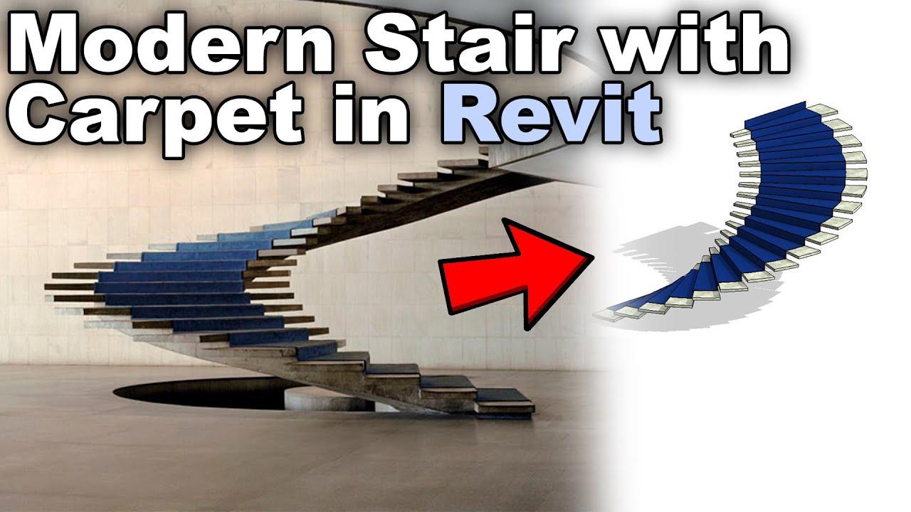 Modern Stair with Carpet in Revit Tutorial
