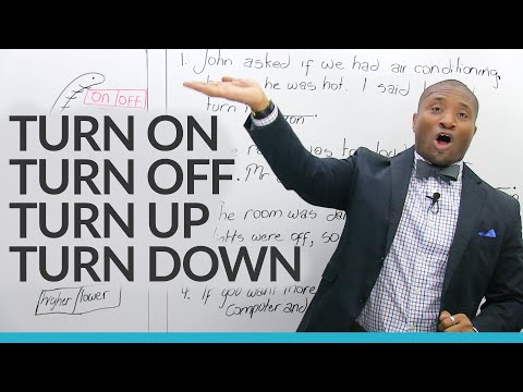 Easy English Lesson: turn on, turn off, turn up, turn down