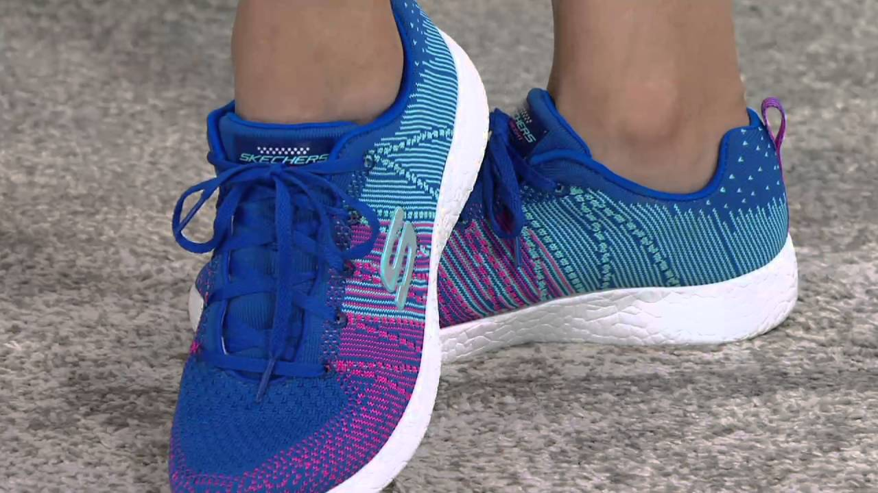 ae56af7a7c81 Skechers Flat Knit Lace-up Sneakers - Burst Ellipse on QVC - YouTube