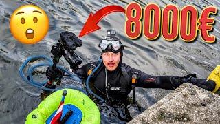 8000€ Kamera beim Tauchen im Kanal gefunden!! (Schatzsuche & Magnetfischen Fail)