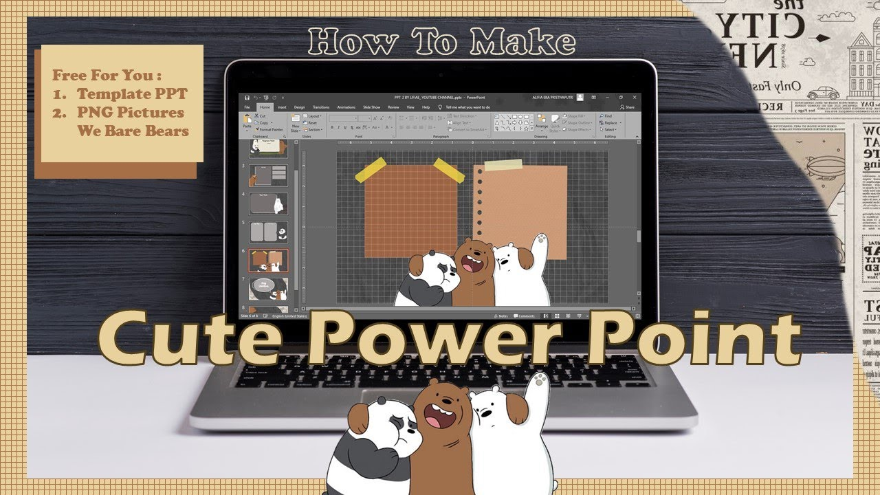 Cute Powerpoint We Bare Bears Theme Free Template Ppt Aesthetic Powerpoint Youtube
