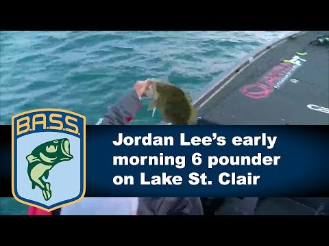 Jordan Lee lands a 6 pound smallmouth on Lake St. Clair
