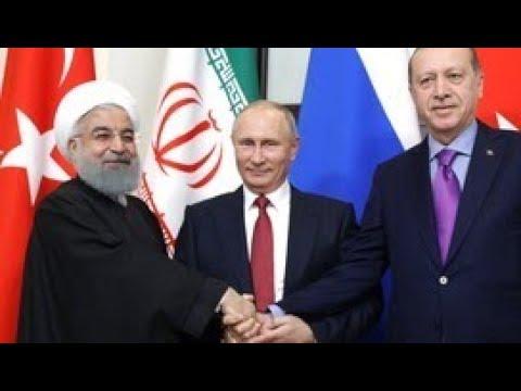Смотреть Трехсторонние переговоры Владимира Путина, Тайипа Эрдогана и Хасана Рухани. Прямая трансляция онлайн