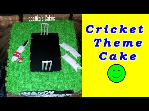 CRICKET THEME - Birthday Cake Recipe for Children with Fondant by Geetika [Hindi]