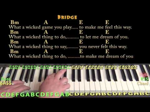 Wicked Game (Chris Isaak) Piano Cover Lesson in A with Chords/Lyrics