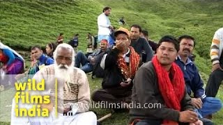 Devotees take rest on trail to Homkund - Nanda Devi Raj Jat Yatra