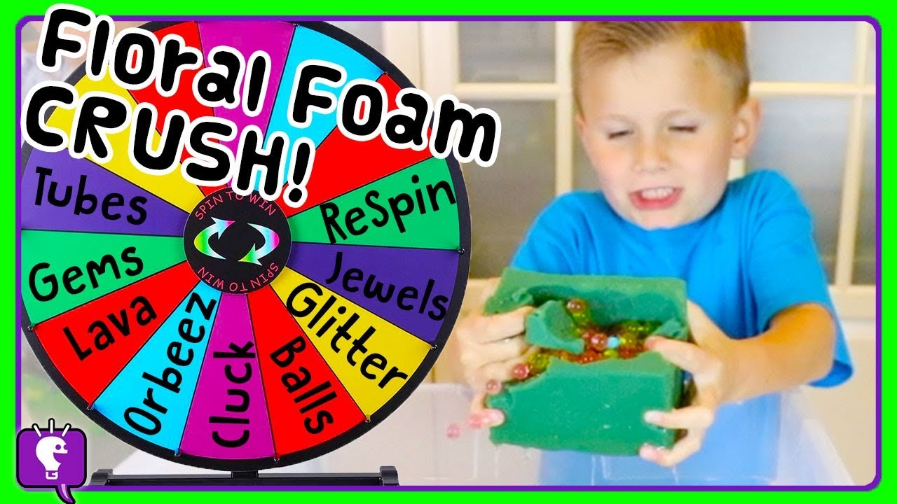 SURPRISE WHEEL Challenge! FLORAL FOAM Crushing by HobbyKidsTV