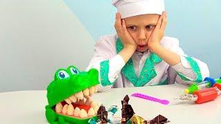 Доктор Даник лечит зубы Крокодилу - Полезный набор для детей Scentos Дантист для Крокки