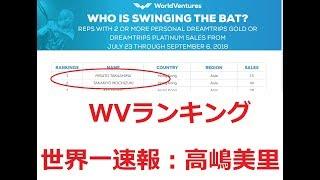 ワールドベンチャーズ 世界ランキング速報 高嶋美里(蝶乃舞)世界一獲得