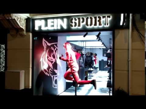 LED Floor at night -- Plein Sport, PC Hoofstraat, Amsterdam,