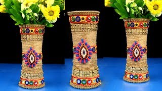 DIY Flower Pot out of Disposable Plastic Glass and jute // Make flower vase using Plastic Glass