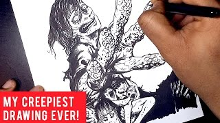 Brush Inking Tips and Techniques: Horror Drawing!