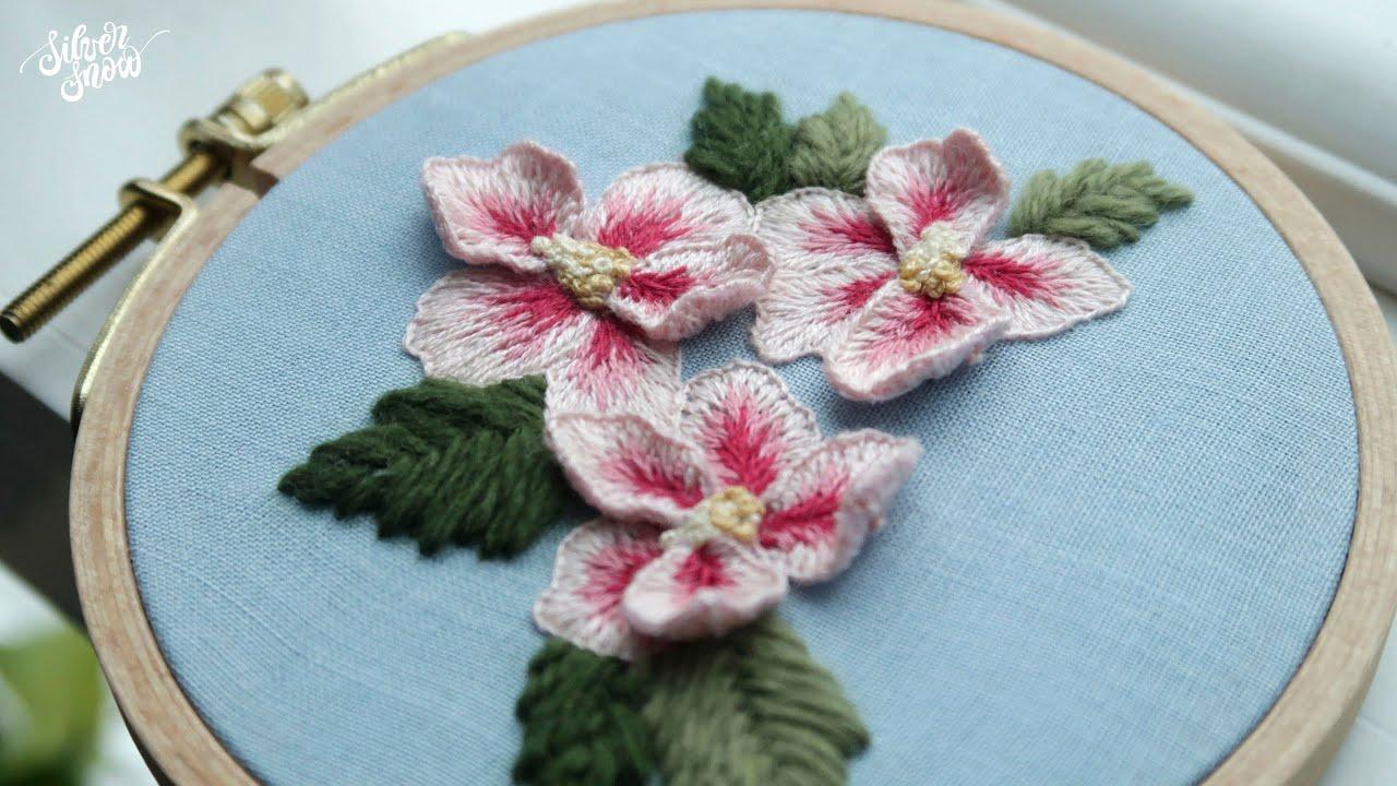 [프랑스 자수 SUB] 광복절 무궁화 자수 / The Rose of Sharon Flowers Hand Embroidery