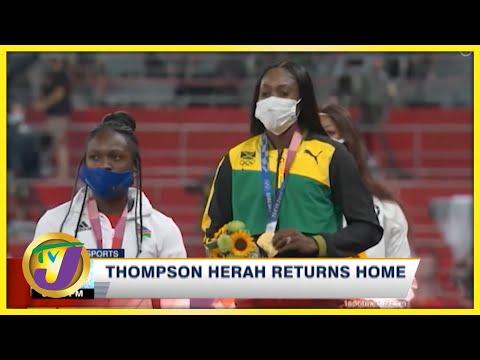 Elaine Thompson-Herah back home in Jamaica - Sept 16 2021