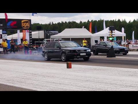 BMW E36 2.8T vs Audi S6 C4 Avant 2.2TQ 1/4 mile drag race
