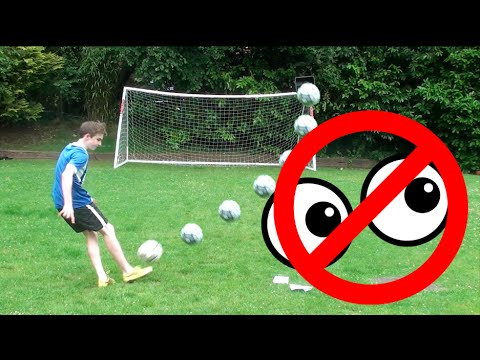 NO LOOK FOOTBALL CHALLENGES WITH BROTHER | CROSSBAR & BIN SHOTS